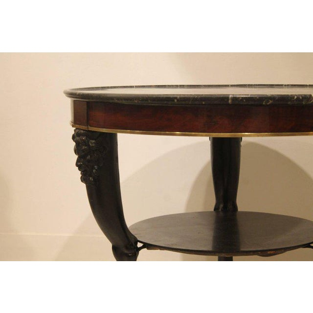 Empire Carved Fauna Head Empire Tripod Pedestal Table in Mahogany, Marble & Giltbronze For Sale - Image 3 of 12