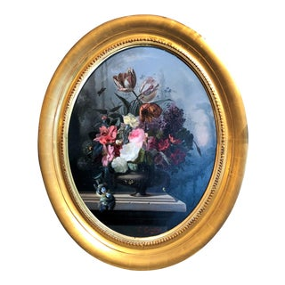 "Pair Antique French ""Belle Epoque"" Floral Still Life Paintings. For Sale"