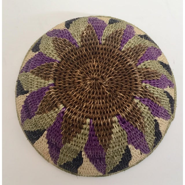 Native American Polychrome Seagrass and Silk Woven Basket For Sale - Image 11 of 12