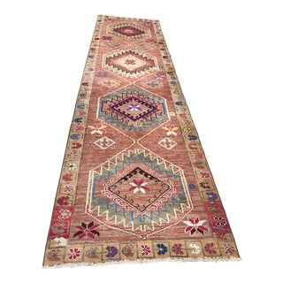 Herki Kurdish Orential Hand Woven Wool Turkish Rug - 4″ × 12′7″ For Sale