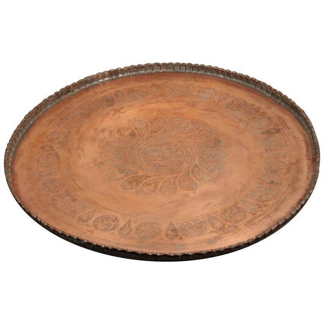 Copper Large Persian Qajar Copper Tray For Sale - Image 8 of 8