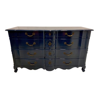 Navy Lacquered John Widdicomb French Style Chest For Sale
