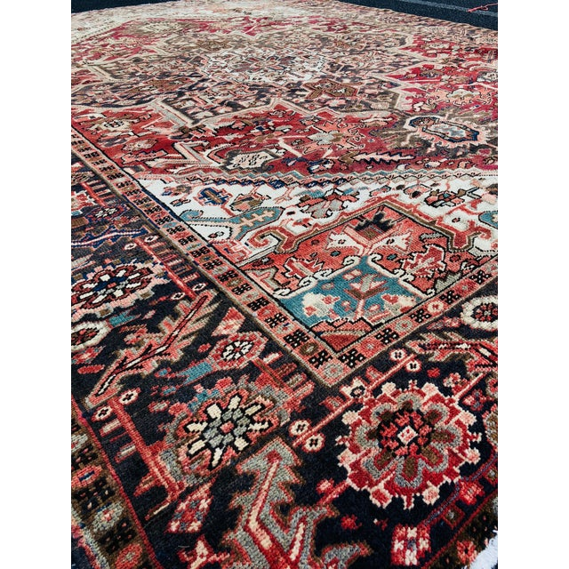 """1930's Vintage Persian Heriz Large Area Rug 9'2""""x10'7"""" For Sale - Image 12 of 13"""