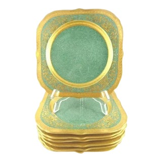 Royal Worcester Green With Elaborate Gilt Trim Square Luncheon Plates - Set of 8 For Sale