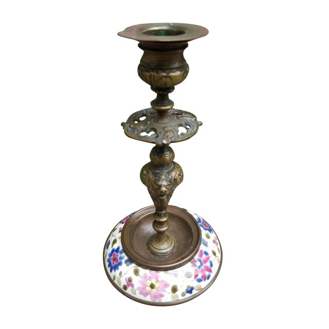 Continental Bronze & Porcelain Candlestick - Image 1 of 9