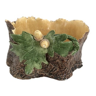 Vintage Majolica Art Pottery Oak Leaves Acorns Tree Planter Bowl