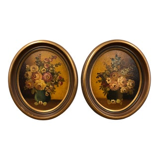 Vintage Wood Oval Picture Frames - a Pair For Sale
