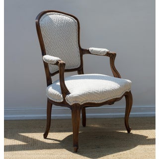 Louis XV Fauteuil of Fruitwood Dressed in Greek Key Linen Preview