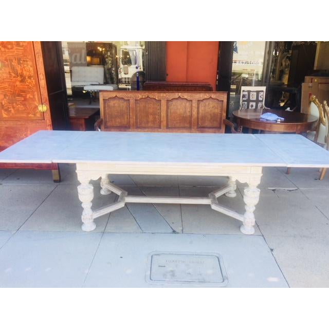 """Vintage carved wood refectory table with sliding leaves . Paint finish not original. 78"""" L, without leaves 120"""" L with leaves"""