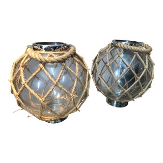 Rope & Glass Hurricanes, Pair For Sale