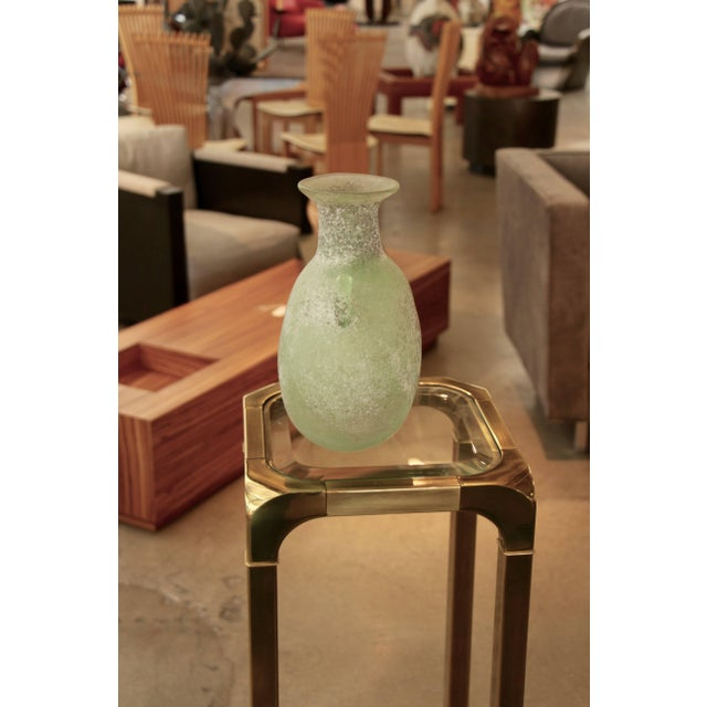 Seguso/ Cenedese Scavo Corroso Handled Green Vessel For Sale In Palm Springs - Image 6 of 8