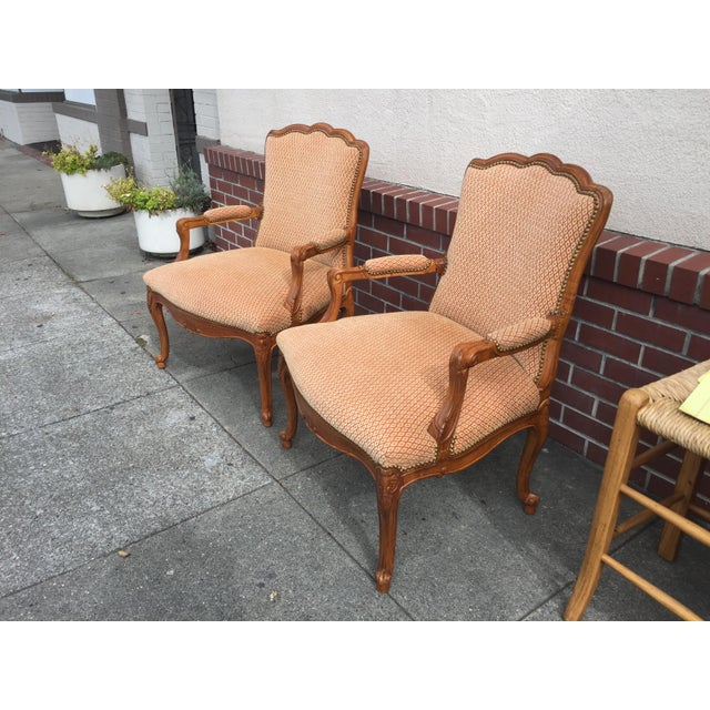 Fantastic Pair of Frnench Bergers in excellent condition. Nail head trim, hand carved details, 20th century. Amazing...