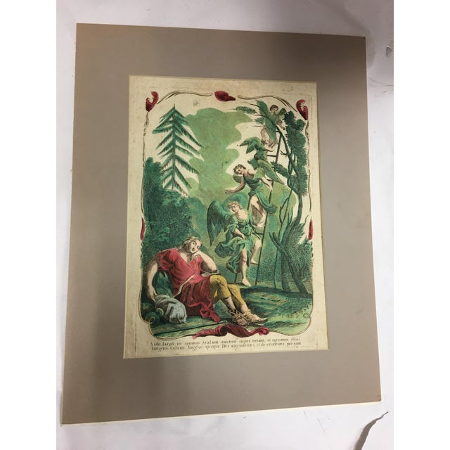 A very beautiful old antique hand painted etching of Jacob's dream with the angels ascending the ladder. Matted and ready...