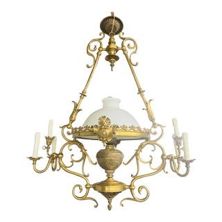French Victorian Bronze Gas Light Chandelier For Sale