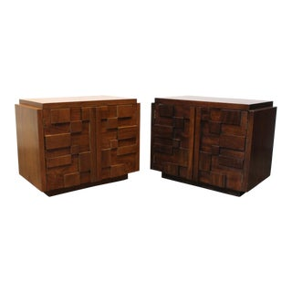1970s Vintage Lane Mid-Century Modern Brutalist Mosaic Patchwork Nightstands - a Pair For Sale