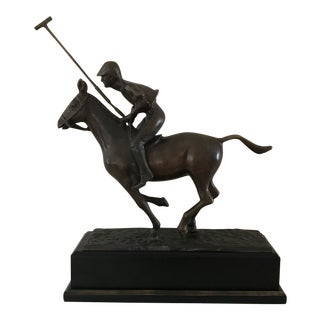 1990s Polo Player Brass Statue For Sale
