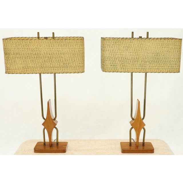 Pair of Walnut and Brass Diamond Pattern Table Lamps For Sale - Image 4 of 13