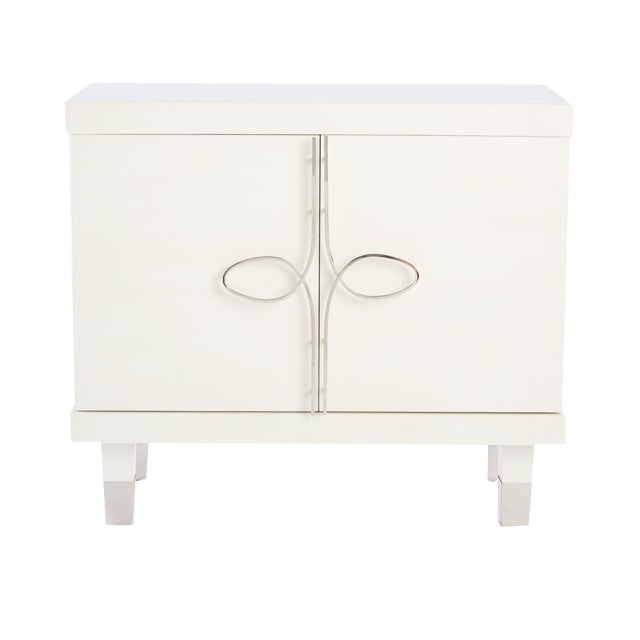 Chloe Nightstand With Doors (Warm White) For Sale