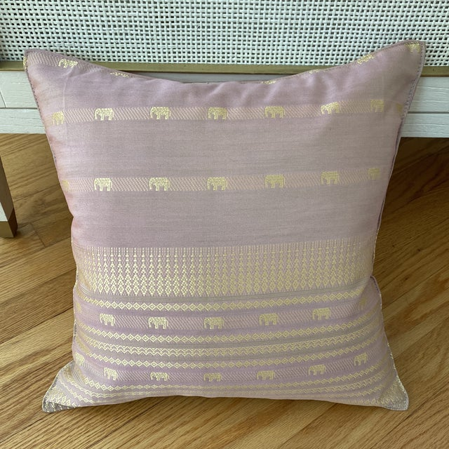 Contemporary Pink Thai Silk Pillow With Elephant Motifs For Sale - Image 9 of 11