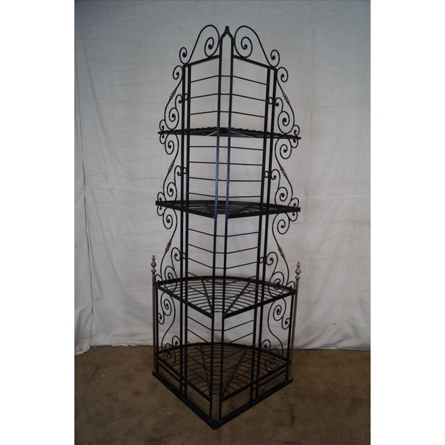 Quality Vintage French Iron Corner Bakers Rack - Image 4 of 10