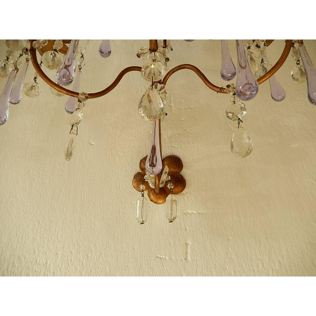 French Murano Drops Lavender Crystal Flowers Three-Light Sconces, circa 1920 For Sale In Los Angeles - Image 6 of 10