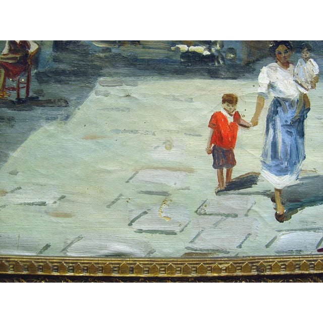 Italian Street Scene Painting, Circa 1900 For Sale - Image 4 of 5