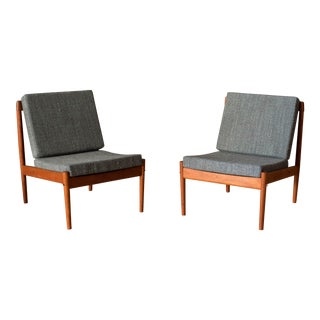 Danish Teak Slipper Lounge Chairs by Grete Jalk for Poul Jeppesen- A Pair For Sale