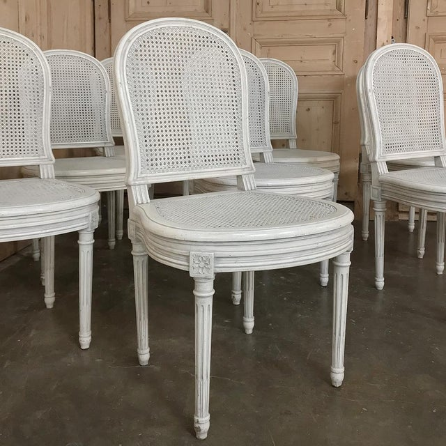 French Early 20th Century Antique French Louis XVI Painted Dining Chairs-Set of 8 For Sale - Image 3 of 13