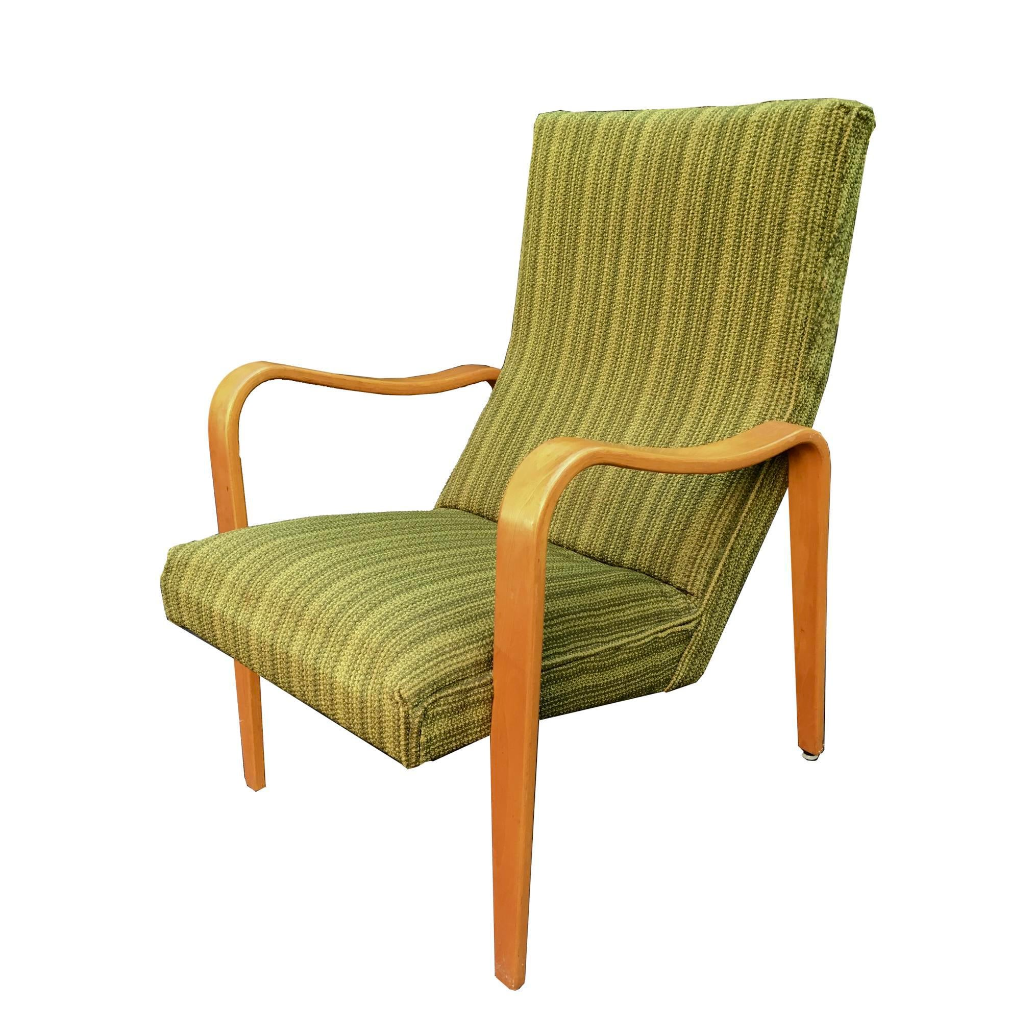 Mid Century Modern Mid Century Modern Thonet Green Bentwood Lounge Chair  For Sale