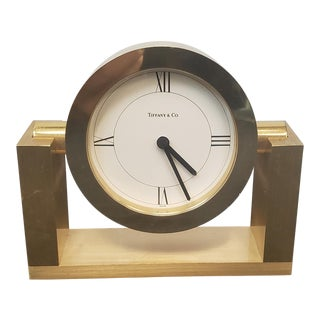 Small Battery Operated Tiffany & Co. Brass Swivel Desk Clock #215389 For Sale