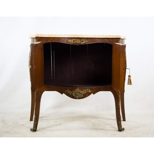 French 19th Century Antique French Vernis Martin Style Marble Top and Bronze Commode For Sale - Image 3 of 13