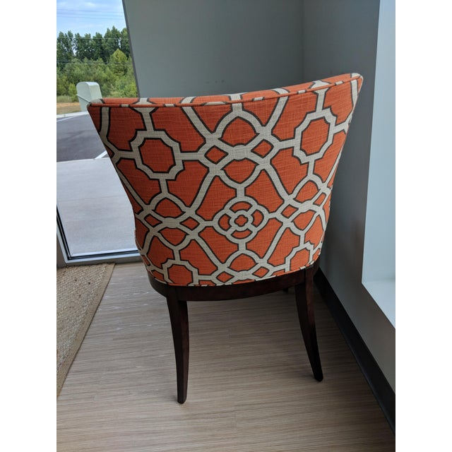 Contemporary Woodbridge Orange Lattice Upholstered Dining Chairs - a Pair For Sale - Image 3 of 5