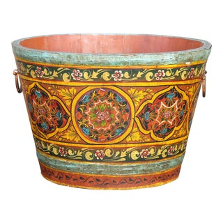 Festive Hand Painted Wooden Grain Bucket For Sale