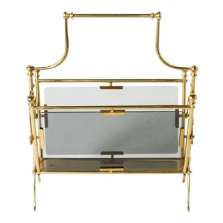 French Brass & Glass Magazine Rack C. 1940 For Sale