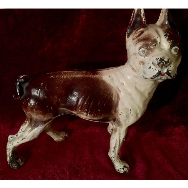 1930s Hubley Boston Terrier Dog Cast Iron Doorstops - a Pair For Sale - Image 9 of 13