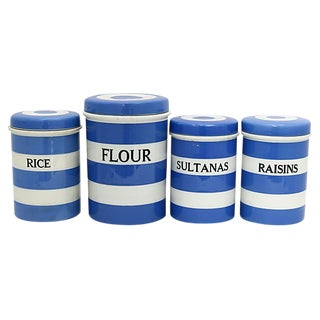 English Cornishware Canister Set, 4 Pieces For Sale