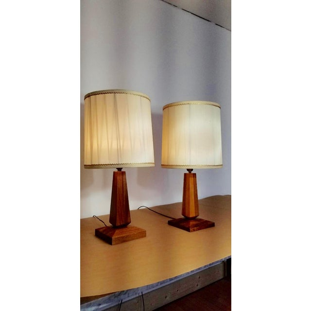 Mid-Century Teak Table Lamps With Original Shades - a Pair For Sale - Image 9 of 9
