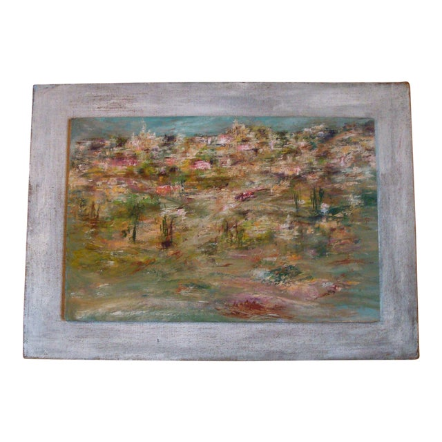 1964 Vintage Abstract Cityscape Painting For Sale