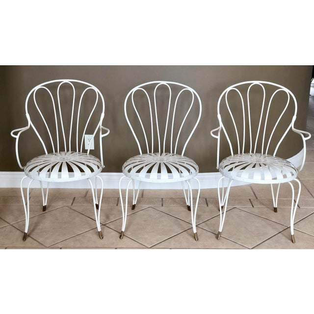 1930s Vintage French Art Deco Francois Carre White and Gold Sunburst Garden Chairs - Set of 3 For Sale - Image 10 of 10