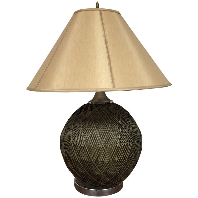 Optic Woven Cane Table Lamp - Image 1 of 11