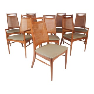 Set of Eight Mid-Century Modern Cane Back Dining Chairs For Sale