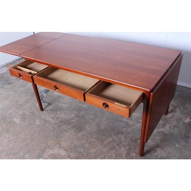 1950s Hans Wegner Drop-Leaf Table Desk AT305 For Sale - Image 5 of 10