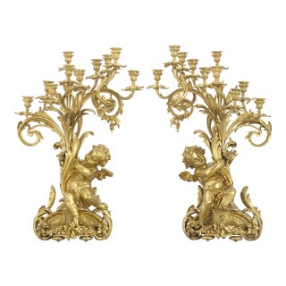 Barbedienne Gilt Bronze Candelabra For Sale