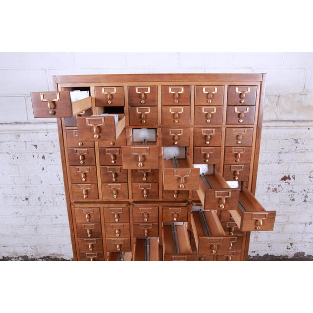 Mid-Century 72-Drawer Library Card Catalog For Sale In South Bend - Image 6 of 13
