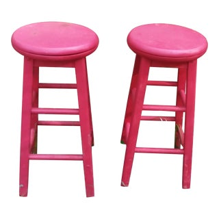 Vintage Red Farmhouse Swivel Barstools - a Pair