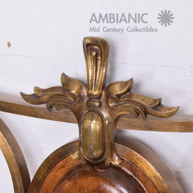 Gold Hollywood Regency Single Headboard in Solid Bronze For Sale - Image 8 of 10