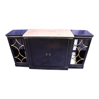 Jansen Black Lacquer Marble Top Sideboard For Sale