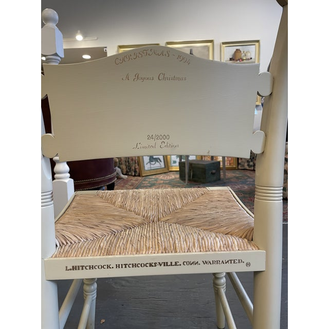 2000 - 2009 Vintage Limited Edition Hancock Christmas Rush Seat Side Chair For Sale - Image 5 of 7