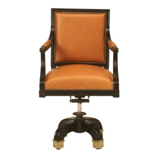 French Louis XVI Ebony Desk Chair Saddle Leather For Sale