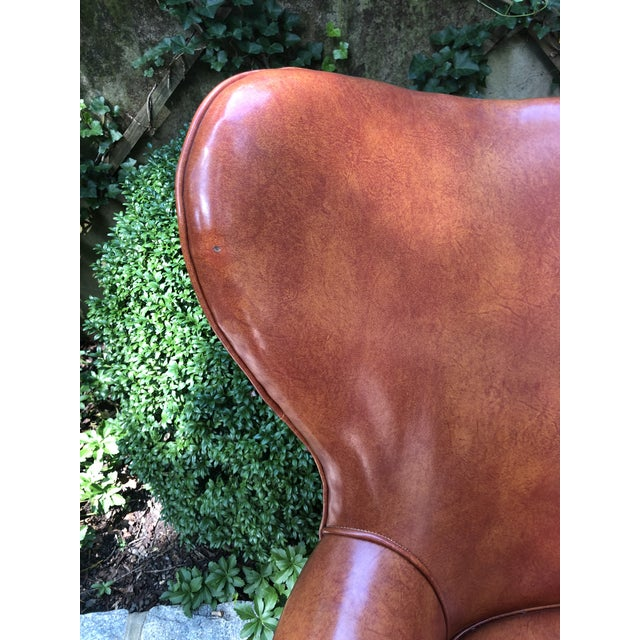 1960s Mid-Century Modern Brown Faux Leather Wingback Chairs - a Pair For Sale - Image 10 of 12